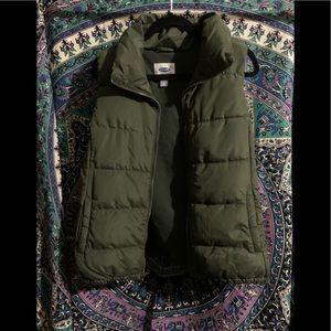 Olive green old navy puffer vest